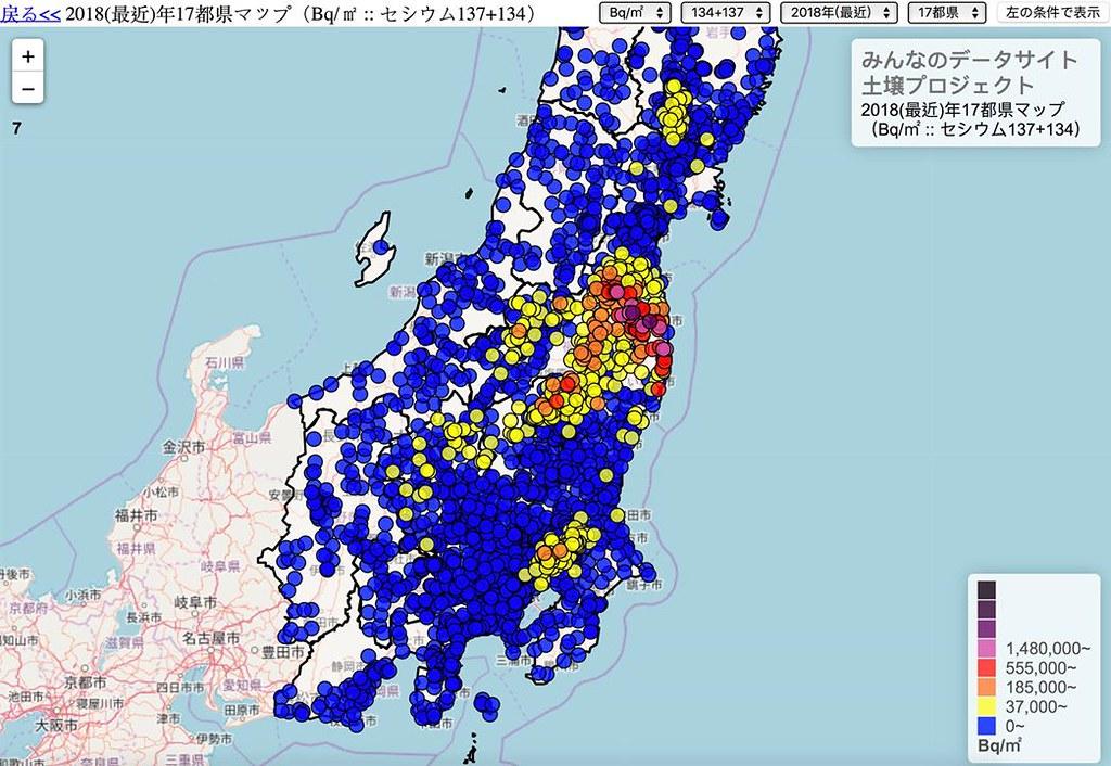 民間製作的福島核災土壤污染地圖。以車諾比標準(37000貝克/平方公尺)為界,超過用黃色來表示。(出處: https://minnanods.net/maps/index.html?pref=prefs17&m2_kg=m2&time=today&sum_137=sum )