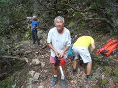 Dans la redescente du chemin du Carciara aval : récupération des sacs