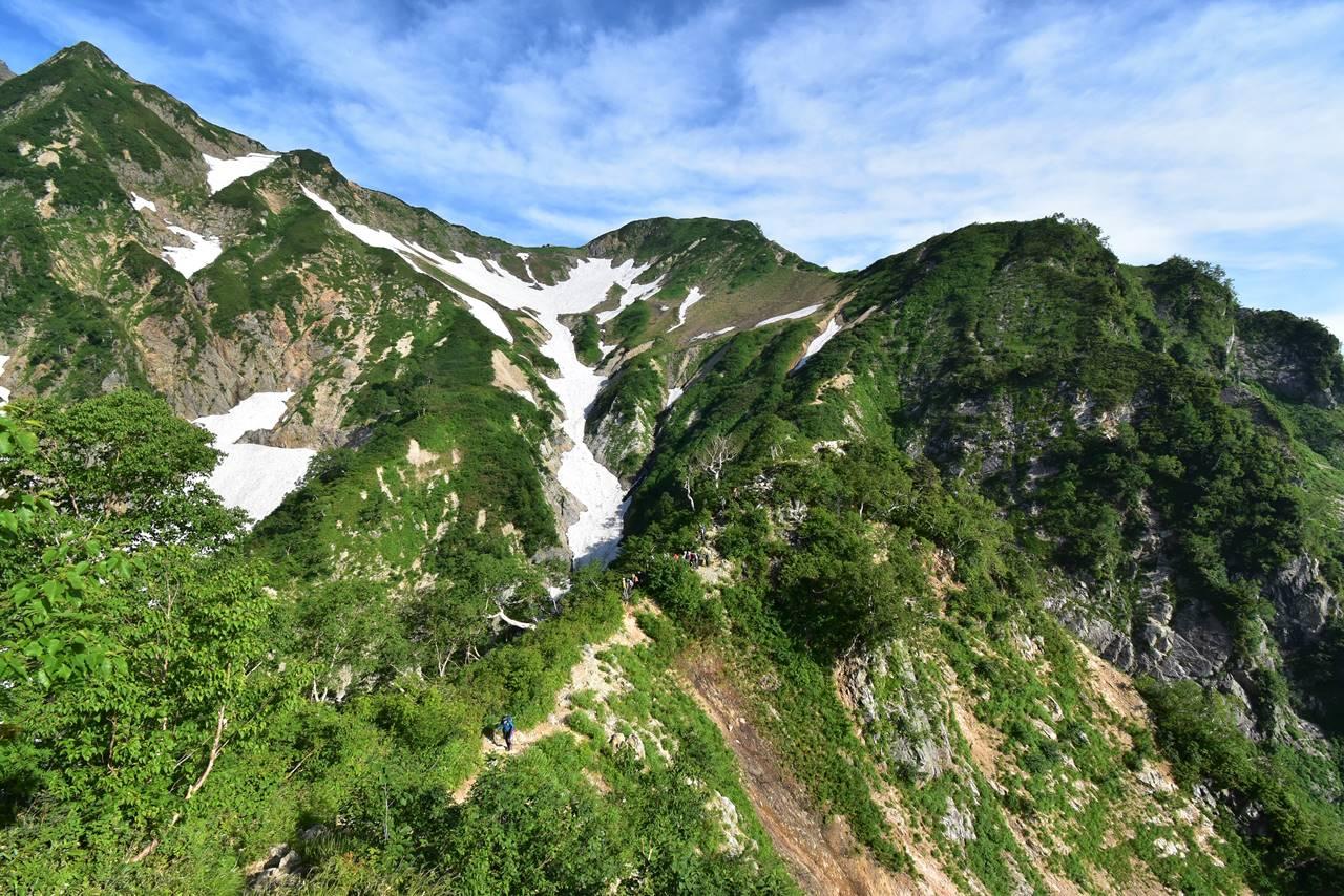 遠見尾根から見上げる五竜岳の稜線