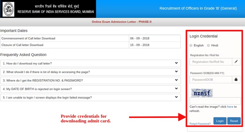 RBI Grade B 2018 Admit Card for Phase II (Released)   Download Here