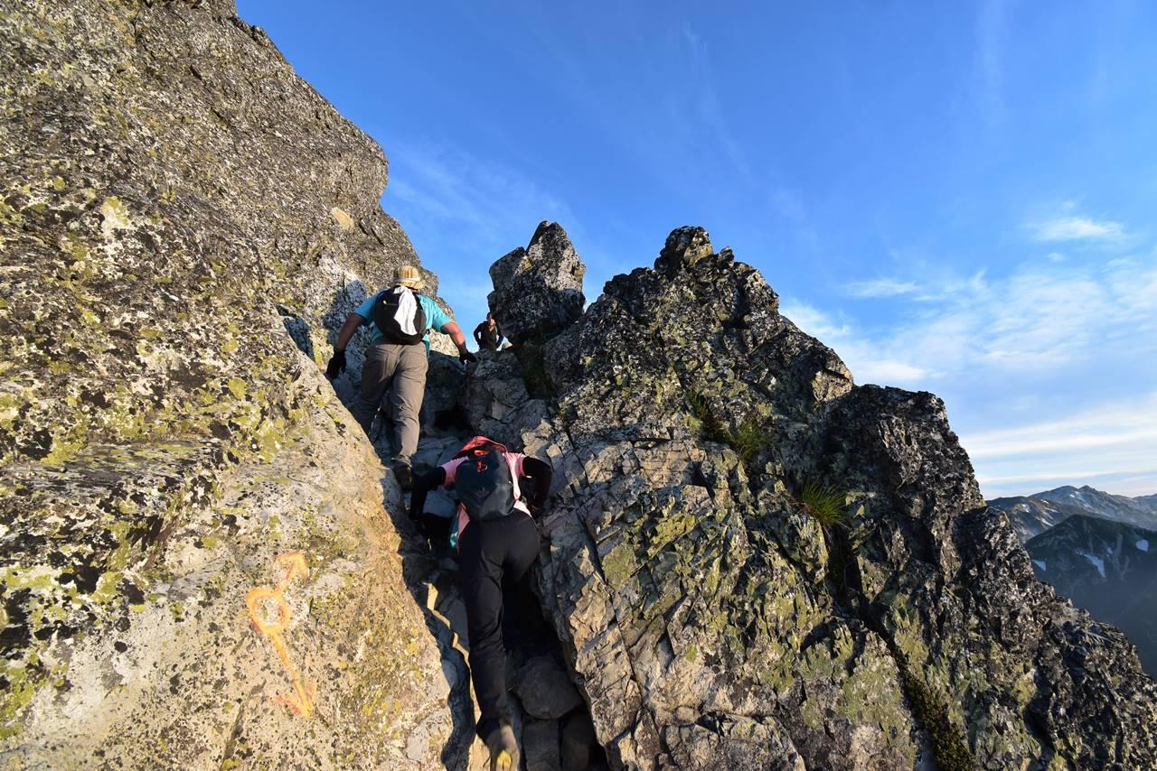 五竜岳登山道の岩場