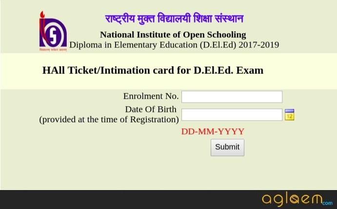 NIOS DElEd 2018 Admit Card