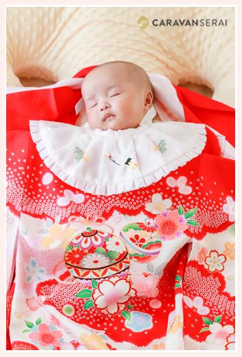 双子の姉妹の赤ちゃんのお宮参り写真をご自宅で/愛知県瀬戸市