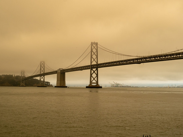 Bay Bridge surrounded by smog by nearby wildfires