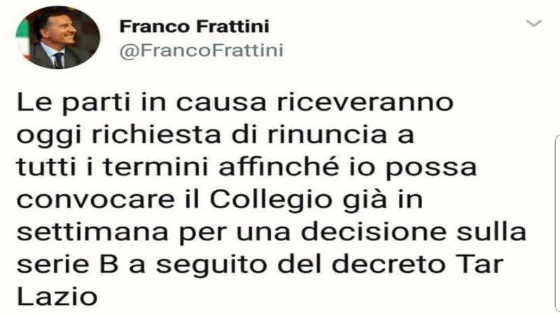 Il tweet di Franco Frattini