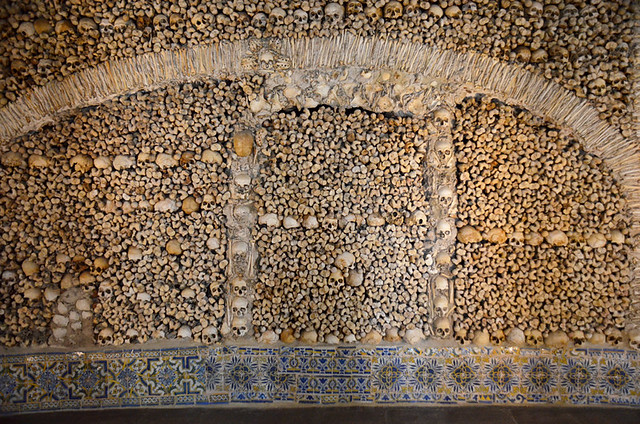 Wall in Chapel of Bones, Evora