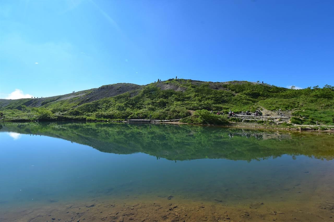 八方池に映る風景