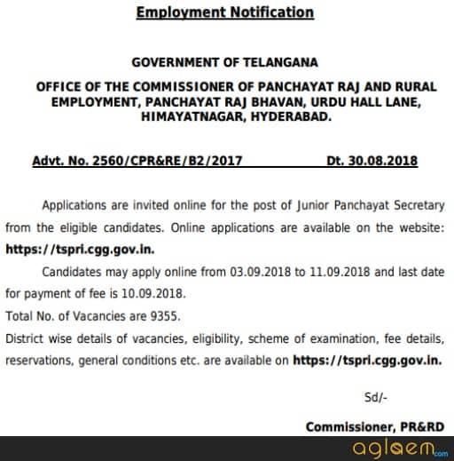 TSPSC Panchayat Secretary Notification 2018 For 9355 Vacancies In Telangana
