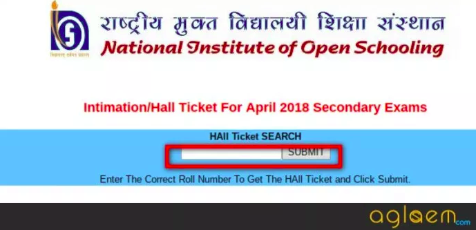 NIOS 10th Hall Ticket October 2018