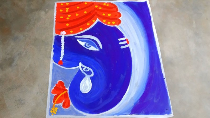easy rangoli designs for ganesh chaturthi