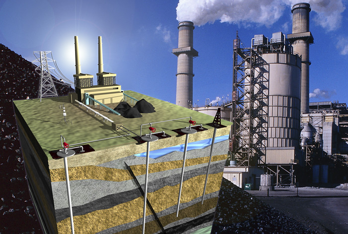carbon sequestration technique involves catching CO2 waste emitted by sources like fossil fuel plants, using it in another industrial process like energy extraction, then storing it underground.