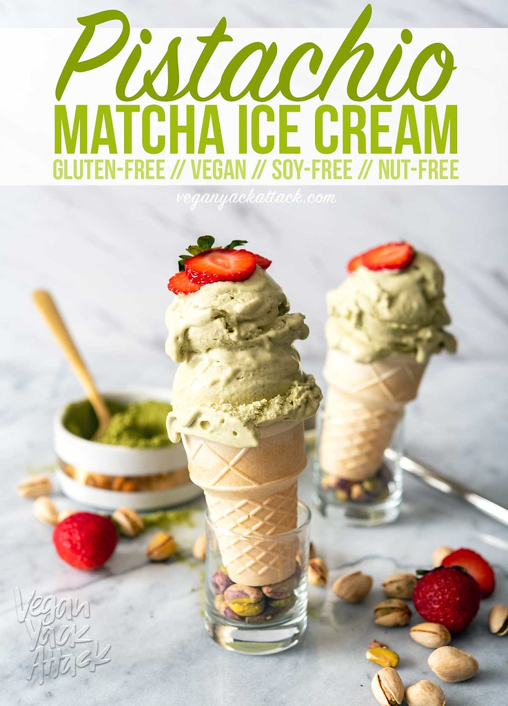 Summer's soon ending, but not before our last hurrah! Make this Pistachio Matcha Ice Cream for a frozen, sweet treat, this weekend. Vegan, Dairy-free, Soy-free