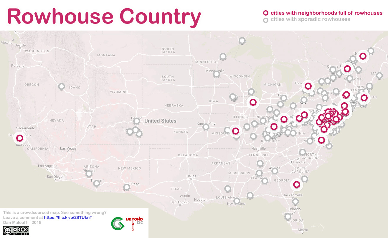 Map Where To Find Rowhouses In The Us And Canada Greater Greater - Find-us-map
