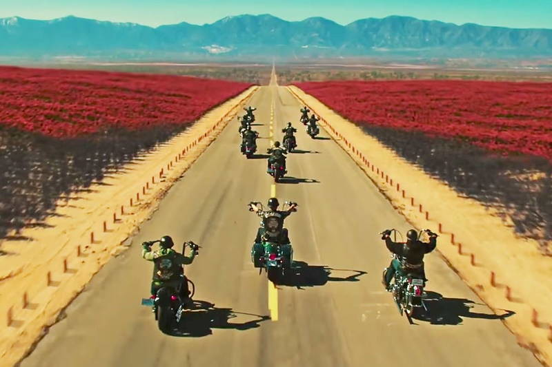 Mayans motorcycles riding a road