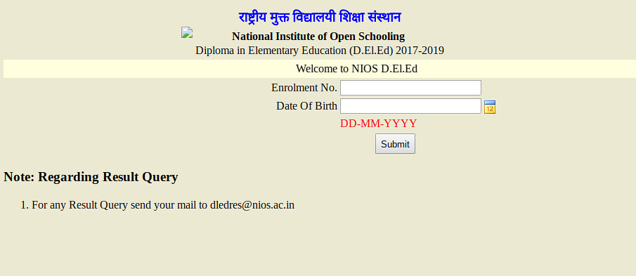 NIOS DElEd Result 2018