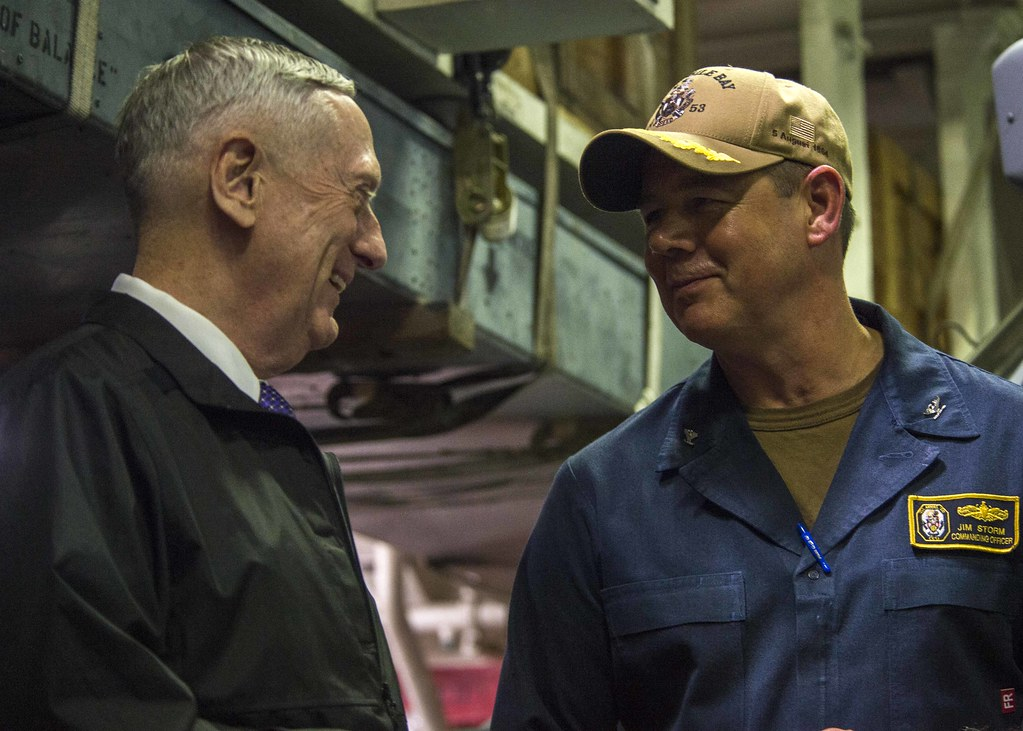 PACIFIC OCEAN- The Honorable James Mattis, Secretary of Defense (SECDEF), visited the Ticonderoga-class guided-missile cruiser USS Mobile Bay (CG 53) Sept. 3 observe the ship preparing and training for potential deployment operations.