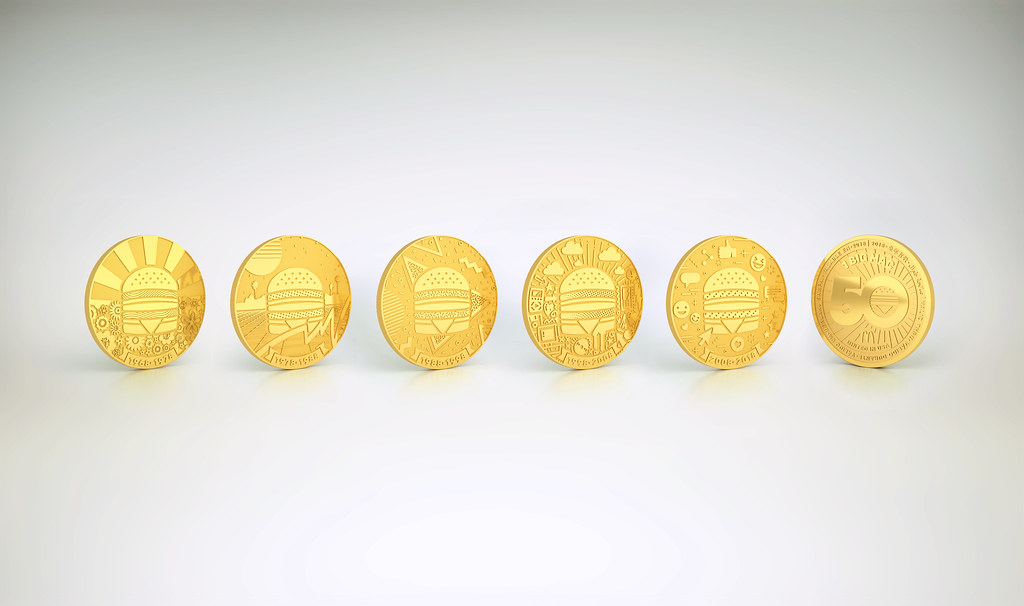 Big Mac commemorative coins, or MacCoins. (Credit: McDonald's Singapore)