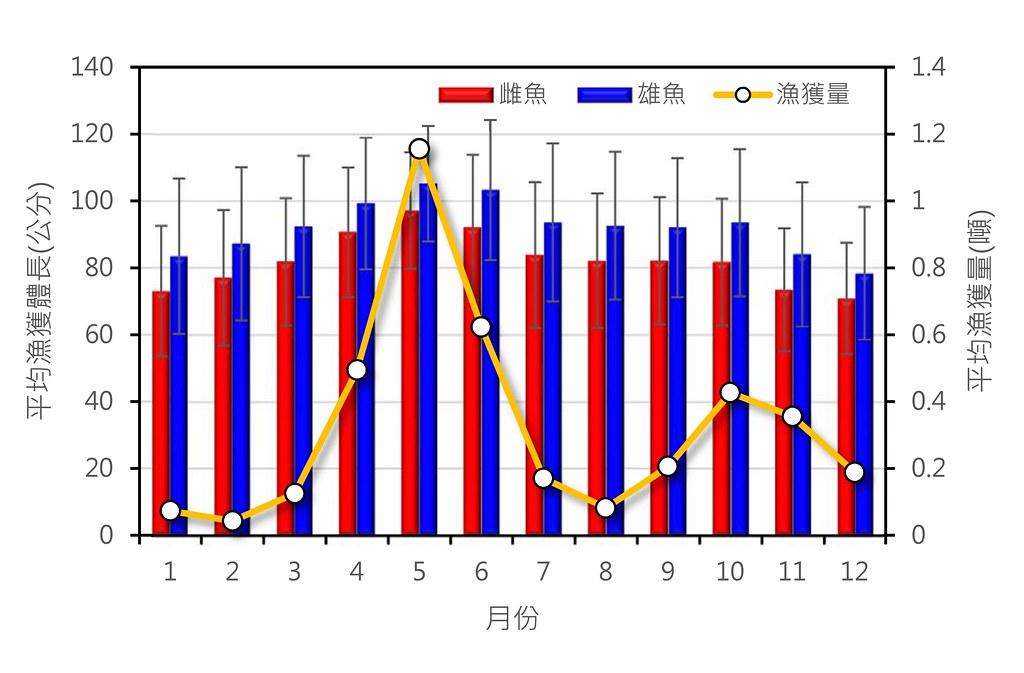 台灣東部海域鬼頭刀之月別漁獲量與平均漁獲體型變動趨勢。