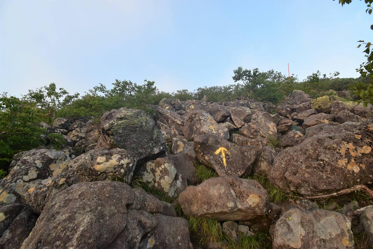 蓼科山の岩場の登山道