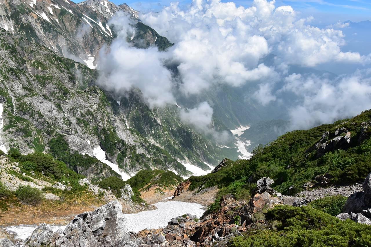 八方尾根から眺める唐松沢雪渓