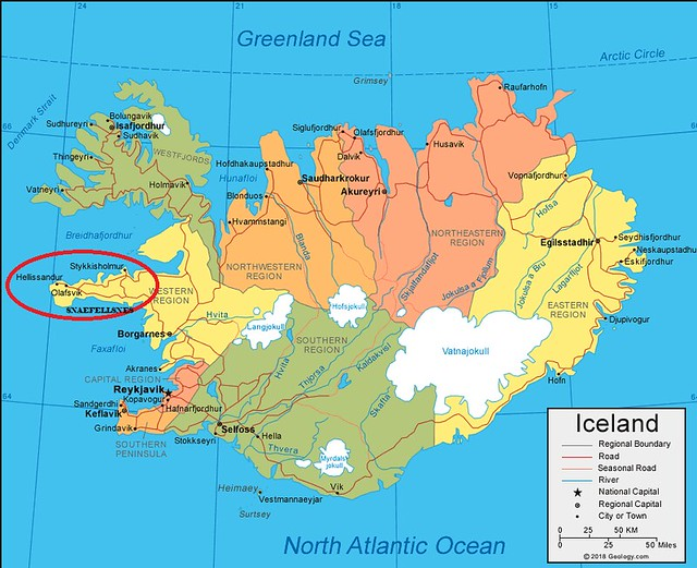 Mapa de Snaefellsnes en Islandia