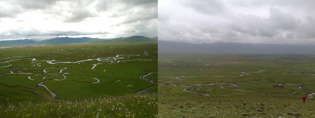 瑪曲面臨地表水減少的危機,圖左為2005年7月,圖右為2016年7月。照片提供:趙中(不適用CC共創授權)