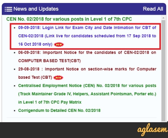 RRB Mumbai Group D Exam Date 2018