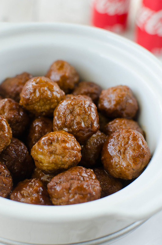 Slow Cooker Coca-Cola BBQ Meatballs - 3 ingredient sweet and spicy meatballs made in the slow cooker! Perfect for tailgating or a weeknight dinner!
