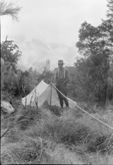 John Robert (Jack) Murrell, at a bush campsite, misty mountains [and glacier] in distance, Tutoko Valley, Southland Region