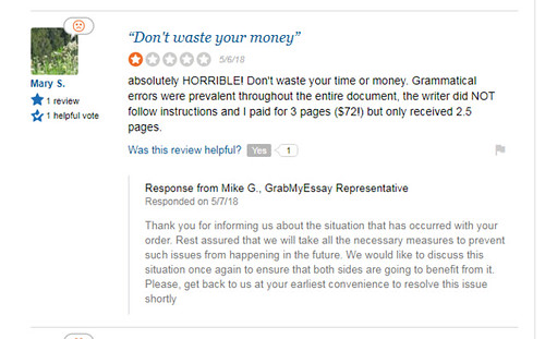 GrabMyEssay online reviews