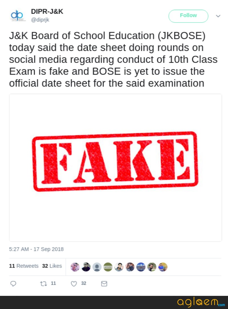 JKBOSE: Fake Date Sheet Available on Social Media Confuses Students