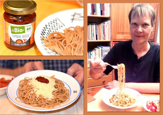 Spaghetti Olio ed Aglio (mit Olivenöl und Knoblauch) mit feurig-scharfem Sambal Oeleg ... Collage: Brigitte Stolle