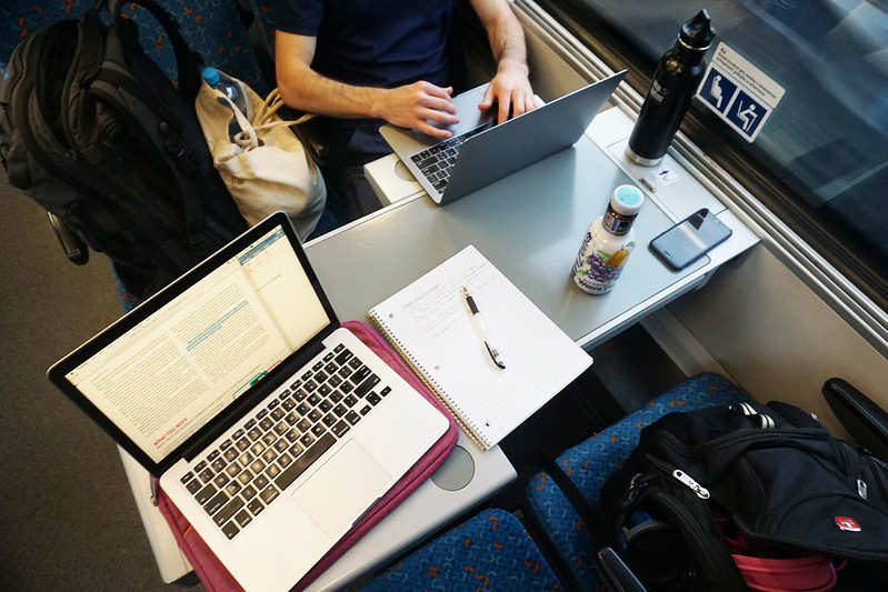 workspace on a train