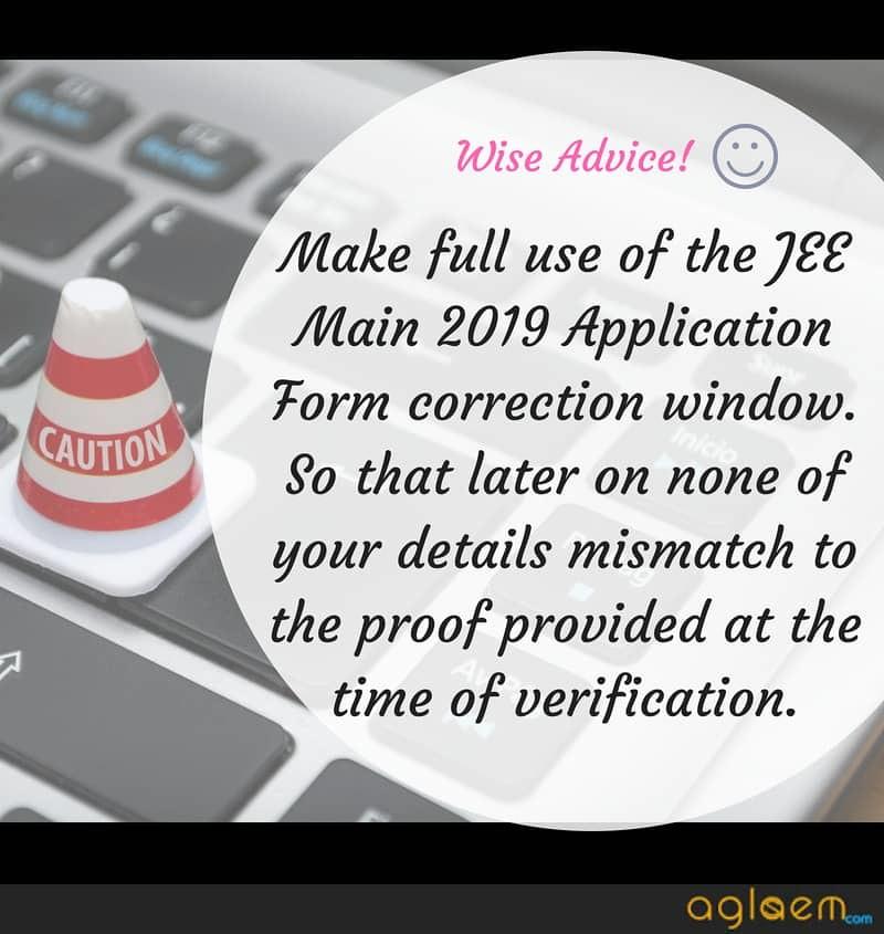 JEE Main 2019 Correction Window