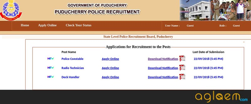 Puducherry Police Constable Online Application Form 2018   Apply Here