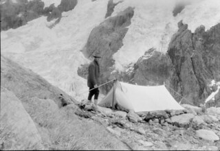 John Robert (Jack) Murrell, at a campsite next to Age Glacier, Mount Tutoko, Darran Range, Southland Region