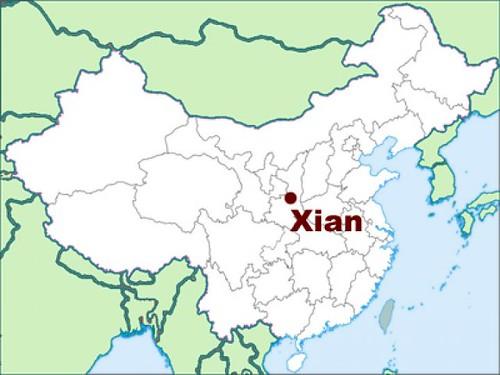 Mapa de Xi'an en el mundo