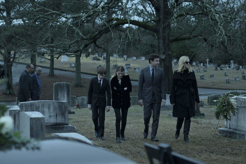 Graveyard funeral sequence with Byrde family