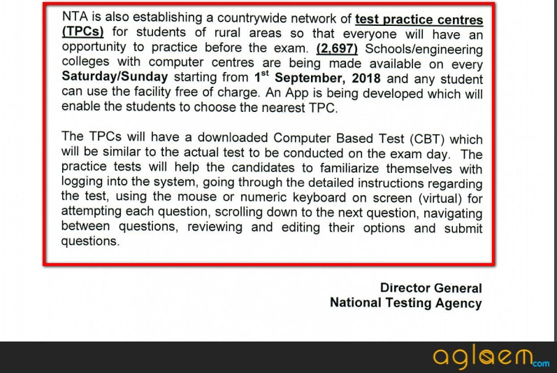 2,697 Test Practice Centres (TPCs) By NTA Will Open From September 01
