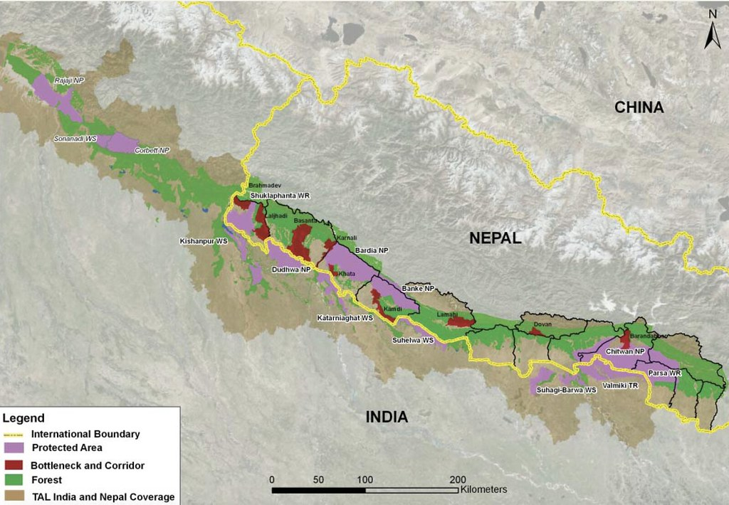 提萊弧狀地景。圖片來源:Tigers of the Transboundary Terai Arc Landscape (WWF)
