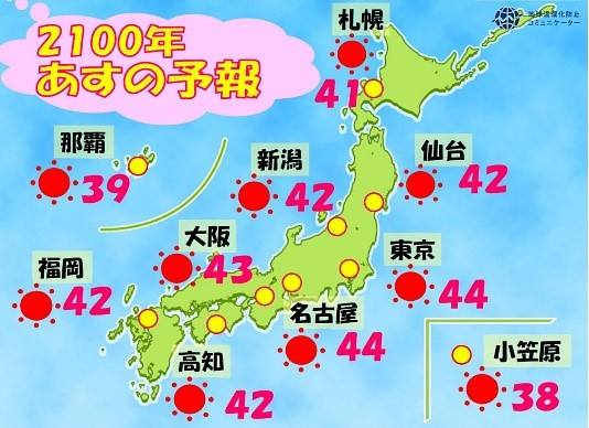 日本環境省推出的2100年氣象預報,屆時各地溫度都高得嚇人。