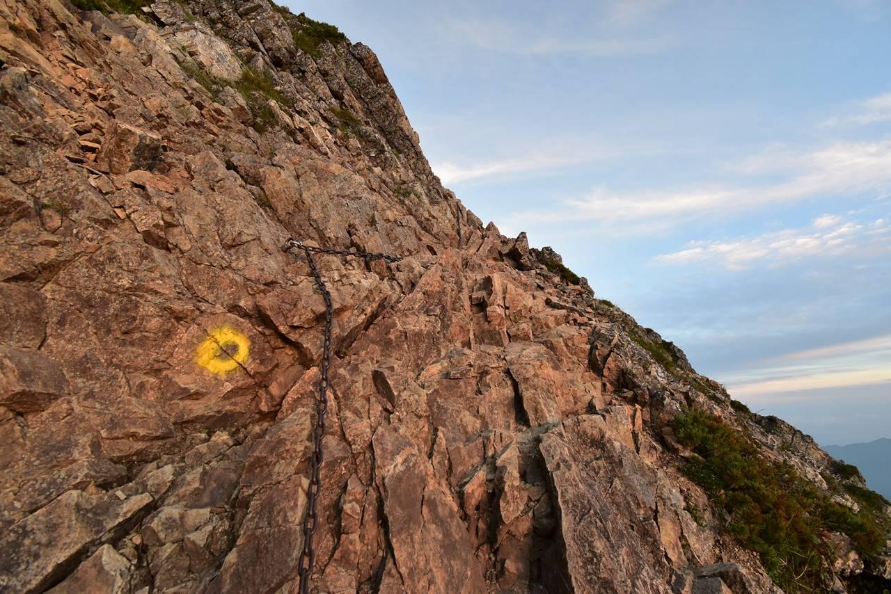 五竜岳の鎖場