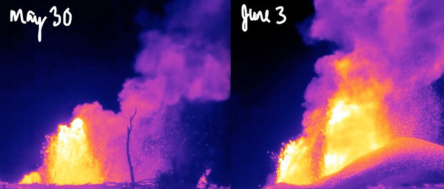 Image shows Fissure 8 cone at night. On the left is a photo from May 30th with a very low cone. On the right is a photo from June 3rd: the fountains are higher and the cone has grown into a respectable hill, open to the left.