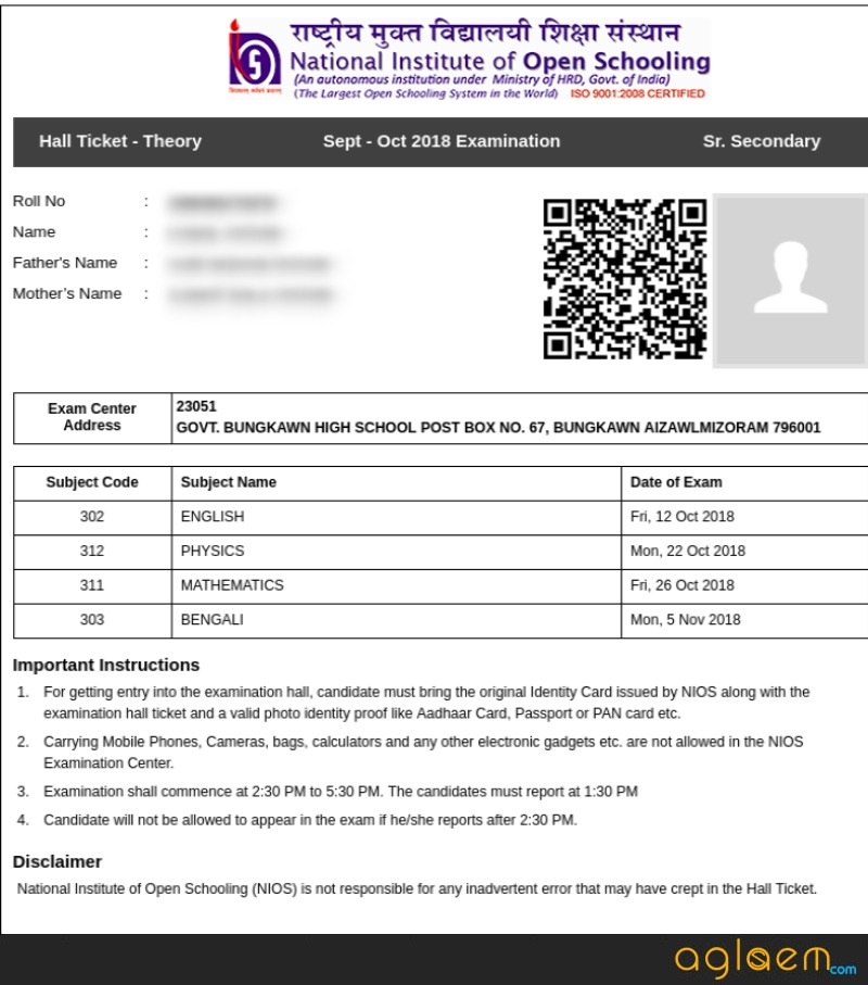 NIOS Hall Ticket Released for the October Theory Examinations 2018