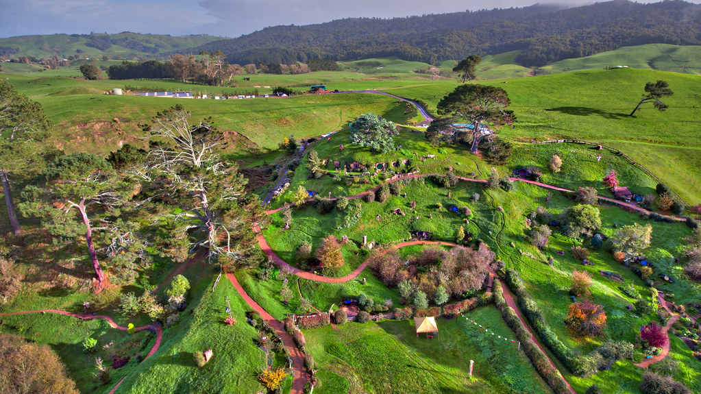 Floating over Beautiful Hobbiton