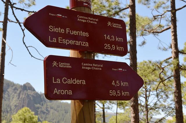 GR131 signpost, Tenerife