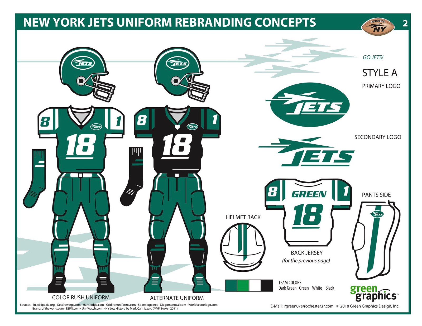92905e3e750 Leave it to a guy named Green to come up with a good look for Gang Green.  Bob Green's proposed wardrobe for the Jets isn't perfect (let's hope the  real Jets ...