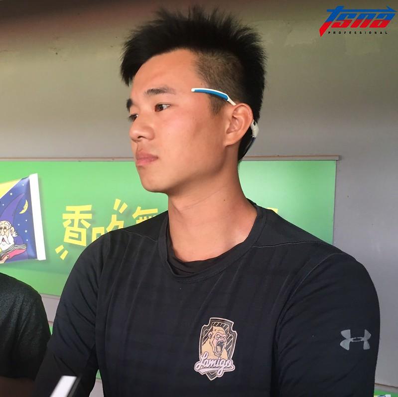 黃子鵬談台灣大賽G2登板情況。(行大昀/攝)