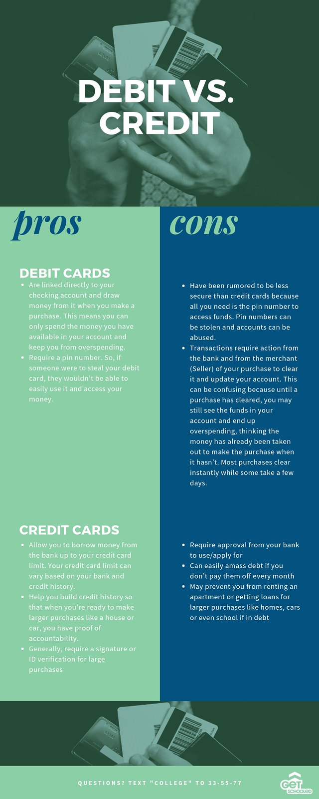 Credit vs debit informational flyer