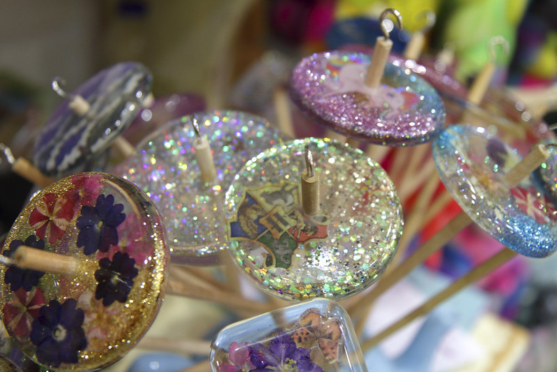 Spin City acrylic drop spindles at The knitting & Stitching Show 2018